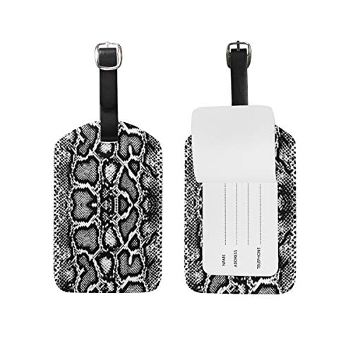 Linomo Travel Tag Serpentine Snake Skin Print Luggage Tag ID Label Carry on Tag for Baggage Suitcase 1 - Snake Tag Luggage Print