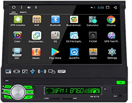 Podofo Car Radio Android GPS 1 DIN Auto Retractable Bluetooth Car Radio 7 HD Touch Screen Multimedia Player With Rear View Camera,Support WiFi/mirror link/RDS/DVR/AUX/USB/SD/TF: Amazon.es: Electrónica