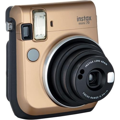 Fujifilm instax mini 70 Instant Film Camera, Stardust Gold - Bundle With Fujifilm Instax Mini Film Twin Pack by Fujifilm