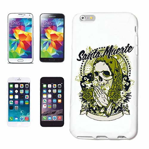 "cas de téléphone iPhone 7 ""SANTA MUERTE SKULL BIKER SHIRT BIKE GOTHIC CLUB MC MOTO CHOPPER CUSTOM MOTO MOTO CLUB REUNION REUNION"" Hard Case Cover Téléphone Covers Smart Cover pour Apple iPhone en blan"