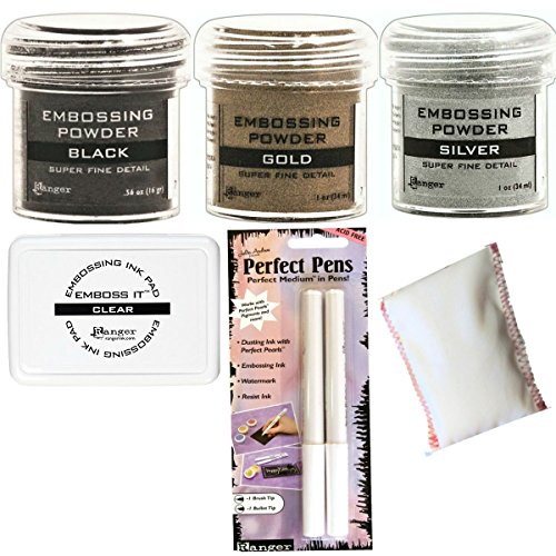 Embossing Powder Bundle - 3 Super Fine Embossing Powder, 1 Bye Bye Static Pad, 1 Ranger Emboss It Foam Pad and Two Perfect Pens Fine and Brush Tips (6 Items) (Dream Fine Art)