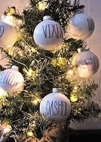 Farmhouse Christmas Tree Reindeer Ornament Set - Buffalo Check Holiday Decor - Black White Rustic Decorations