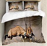 Ambesonne Africa Duvet Cover Set King Size, Fight Between Two Gemsbok on Plains of Etosha Namibia Savage Safari Theme Design, Decorative 3 Piece Bedding Set with 2 Pillow Shams, Brown Tan