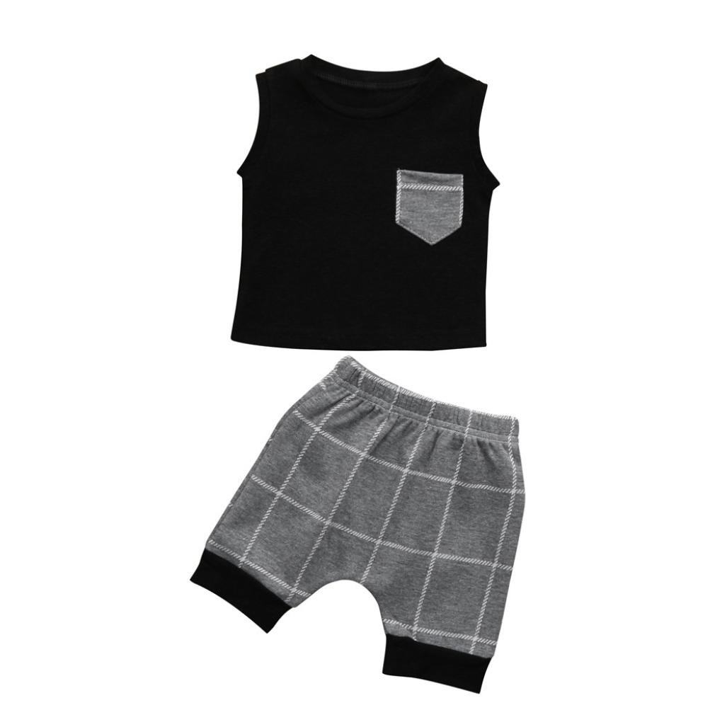 Kehen Toddler Baby Boys 2pcs Summer Outfits Sleeveless Stripes T-Shirt + Short Pants Casual Sets (Black #2, 6-12 Months)