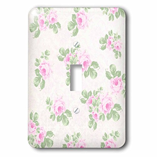 Floral Outlet Cover - 3dRose lsp_120173_1 Vintage Pink Roses Pattern Rose Flowers on Light Cream Damask Shabby Chic Sun-Faded Look Floral Light Switch Cover