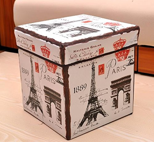Foldable Storage Cube/Ottoman/Foot Stool,Eiffel Tower Design,White
