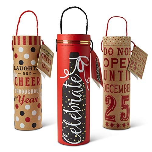 Paper Wine Bottle Gift Bags: Tri-Coastal Design Reusable Christmas Present Bag with Handles and Gift Tag - Single Bottle Wine, Beer or Liquor Tote with Festive Holiday Design - 3 Pack Assorted Bags