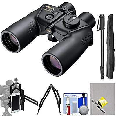Nikon OceanPro 7x50 Global Compass Waterproof / Fogproof Binoculars with Case + Harness + Smartphone Adapter + Monopod + Kit