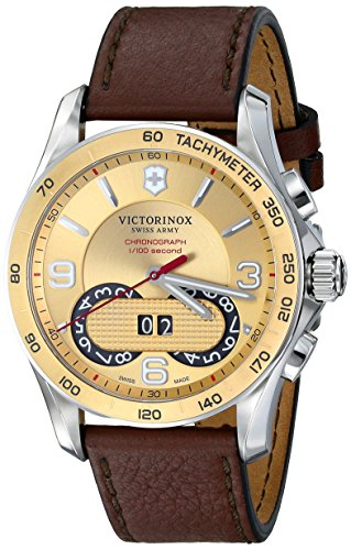Victorinox Unisex 241617 Chrono Classic Two-Tone Stainless Steel Watch with Brown Leather ()