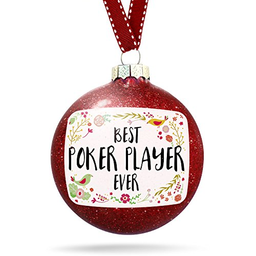 Christmas Decoration Happy Floral Border Poker Player Ornament by NEONBLOND