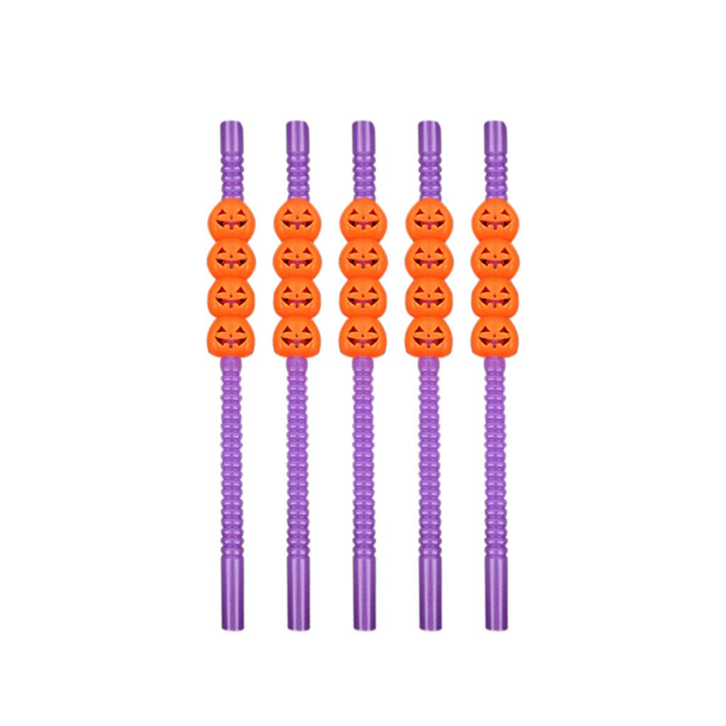 Halloween Straws Plastic Drinking Straws BPA Free Skull Skeleton Pumpkin Beverages Flexible Bendy Straw Replacement Tableware 8.7inch Novelty Halloween Party Favors E