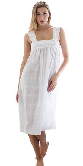 100% Cotton Nightdress  Nana  by Cottonreal - White Cotton Wide Strappy  Nightie … d9e1d19f5a51