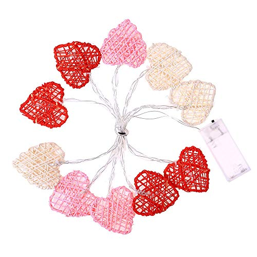 Price comparison product image Lovewe Xmas String Lights, Rattan Heart Shape 2M String Lights 10 LED Outdoor Indoor Christmas Tree Xmas (A)
