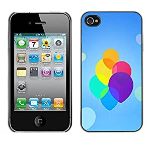 Paccase / Hard Protective Case Cover for - Colorful Neon Balloons - Apple Iphone 4 / 4S