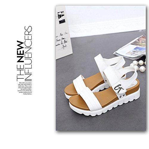7c7633f26 Sandalias Planas Mujer Cuña Baja Plataforma Zapatos Cuero Hebilla Schuhe  Cómodos Elegantes Damen Mädchen ...