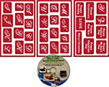 Script Alphabet Glass Etching Stencils, Reusable Monogram (3 pack) + Free How to Etch CD