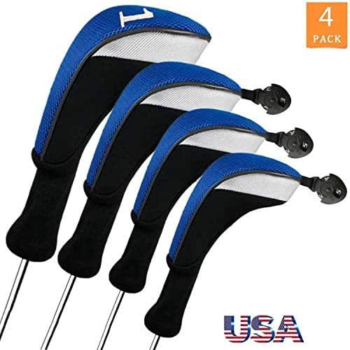 FINGER TEN Golf Club Head Covers Woods Driver Fairway Hybrid 3/4/5 Set, Headcovers Men Long Neck 1 3 5 7 X Interchangeable Number Tag, Fit Nike Ping Mizuno Titleist 460CC