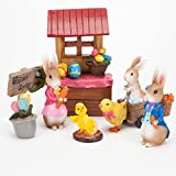Bits and Pieces - Seven Piece (7) Easter Figurines Set - Holiday Fairy Garden Centerpiece Ornaments Made of Polyresin and Hand Painted