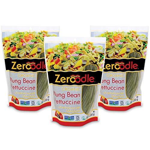 Zeroodle 3-Pack Low Net Carb Gluten Free Vegan Pasta - Organic Mung Bean Edamame Fettuccini Noodles - High Protein