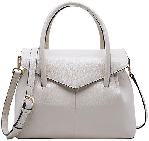 BOYATU Real Leather Handbag for Women Elegant Business Satchel Top Handle Bag (Off White) by BOYATU
