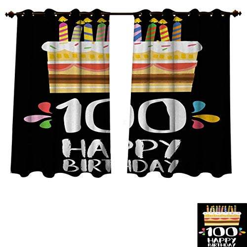 Anzhouqux 100th Birthday Bedroom Thermal Blackout Curtains Old Legacy 100 Birthday Party Cake Candles on Black Major Milestone Backdrop Blackout Draperies for Bedroom Multicolor W72 x L45 ()