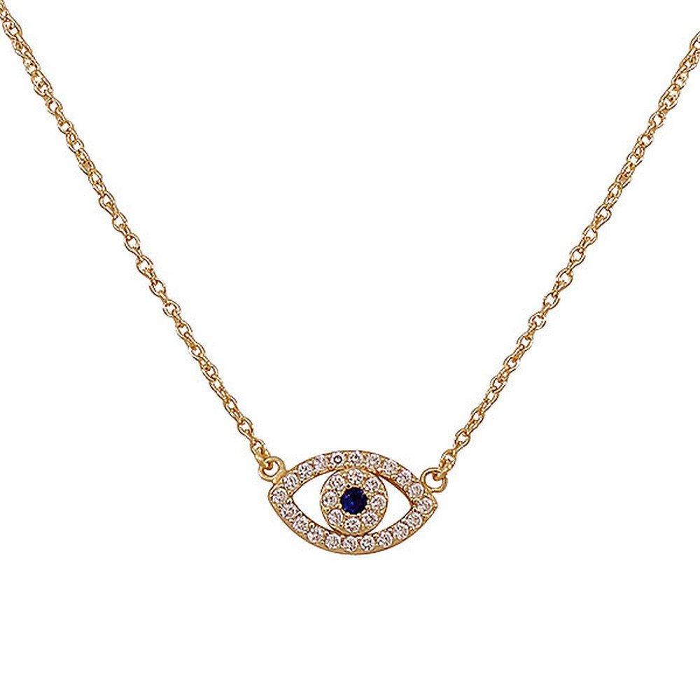 925 Sterling Silver Yellow Gold-Tone Evil Eye Hamsa White Blue CZ Womens Pendant Necklace