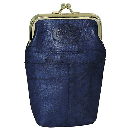 Buxton Women's Leather Framed Cigarette Case Wallet with Floral Emboss, Navy ()