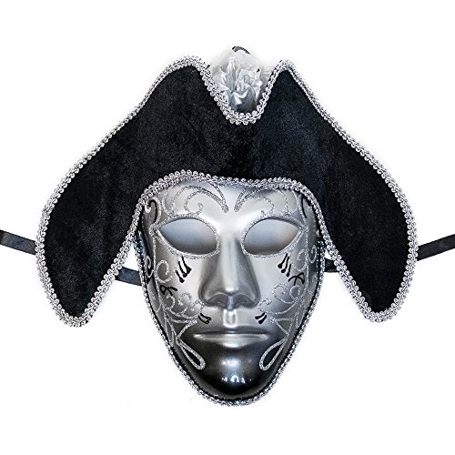 Full Face Silver & Black Pirate Mask Venetian Masquerade Mask Event Party Ball Mardi Gars Halloween
