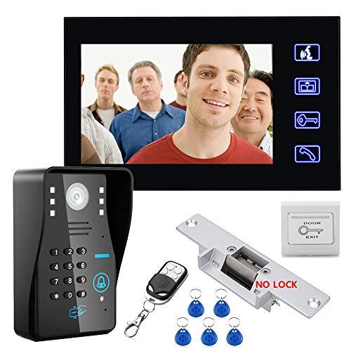 TONGTONG Smart doorbell, Video doorbell7 inch Monitors Video RFID Password Access Control System DoorPhone Intercom System Kit with NO-Electric Strike Door Lock