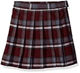 French Toast Big Girls' Plaid Pleated Skirt, Burgundy, 12