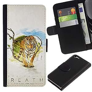 """A-type (Tiger Aliento"""") Colorida Impresión Funda Cuero Monedero Caja Bolsa Cubierta Caja Piel Card Slots Para Apple (4.7 inches!!!) iPhone 6 / 6S"""