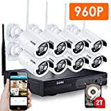 ZOSI 960P AUTO-PAIR WIRELESS SYSTEM 8Channel 960P(1280x960) NVR Kit 1.3 Megapixel IP Camera Network Video Security System Weatherproof Bullet Cameras 2TB Hard disk (100ft Night Vision , Motion Detect)