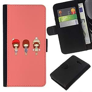 KLONGSHOP // Tirón de la caja Cartera de cuero con ranuras para tarjetas - Chicas japonesas lindas - Sony Xperia M2 //