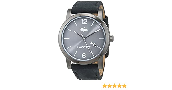 Amazon.com: Lacoste Metro Grey Dial Leather Strap Mens Watch 2010926: Watches