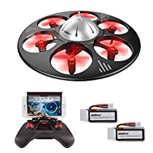 UDI U845 WiFi FPV UFO RC Drone with HD Camera 2.4GHz 4CH 6 Axis Gyro RTF Quadcopter with Low Voltage Alarm Gravity Induction and Headless Mode Includes BONUS BATTERY