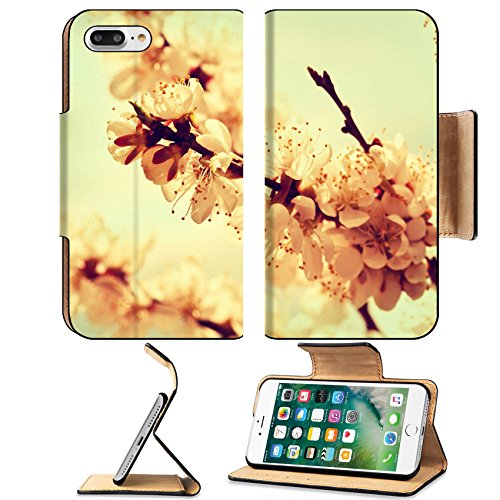 Luxlady Premium Apple iPhone 7 Plus Flip Pu Leather Wallet Case iPhone7 Plus 25253658 branches of cherry blossoms in vintage (Blossom Drapery)