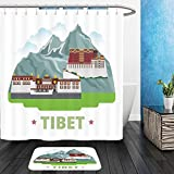 Vanfan Bathroom 2Suits 1 Shower Curtains & 1 Floor Mats tibet country design template flat cartoon style historic sight showplace web site vector 435589120 From Bath room