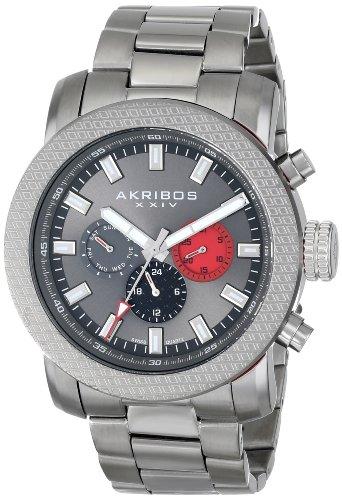 Akribos XXIV Men's AK684GN Grandiose Swiss Quartz Multifunction Gun Stainless Steel Bracelet Watch