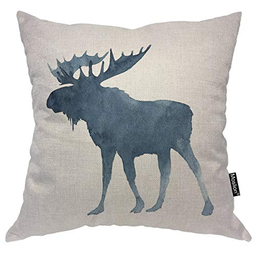 (Moslion Moose Pillows Cute Christmas Animal Moose with Big Horns Winter Snow Throw Pillow Cover Decorative Pillow Case Square Cushion Accent Cotton Linen Home 18x18 Inch Blue)
