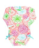 RuffleButts Baby/Toddler Girls Long Sleeve One Piece Swimsuit - Tropical Garden with UPF 50+ Sun Protection - 3-6m