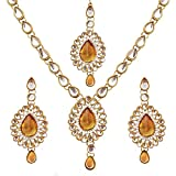 Bollywood Designer Indian Pakistani Ethnic Kundan Necklace Earring Mang Tika (Citrine Color)