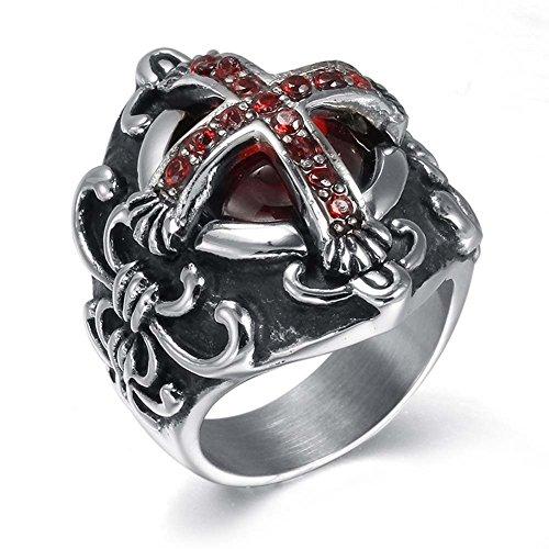 [Cheo Rish Men's Titanium Steel Vintage Ruby Vampire Cross Ring] (Mens Dallas Cowboy Football Costumes)