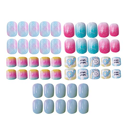 Laza 120pcs Children Nails Press On Pre-glue Full Cover Glitter Gradient Color Rainbow Sparkling Scale Wave AquariusShort False Nail Kits for Kids Teenager Girls - Little Mermaid