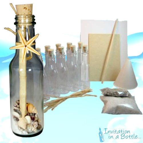 20 Beach Theme Message In A Bottle Invitations (Glass)- Ocean (Sand Wedding Invitation)