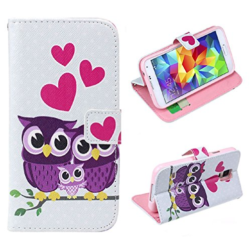 Price comparison product image Fullkang Love Owl Family Leather Case Cover for Samsung Galaxy S5 I9600 G900