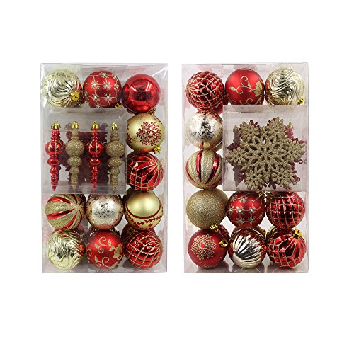 Valery Madelyn 40 Set Luxury Collection Red and Gold Shatterproof Christmas Ball Ornaments,40 Metal Hooks Included