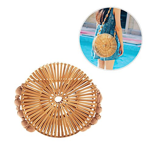 Purse Handmade Moon Tote Bamboo Women Handbags bag L Half for Bamboo Japanese Beach Moon Full Aneil Summer Style g18qwOvU1