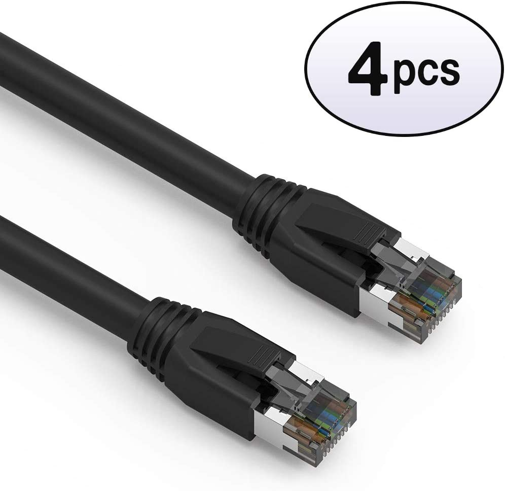 Purple 2000MHz GOWOS Cat8 SFTP Ethernet Cable 40 Gigabit//Sec High Speed LAN Internet//Patch Cable 2-Pack - 2 Feet 24AWG Network Cable with Gold Plated RJ45 Snagless//Molded//Booted Connector