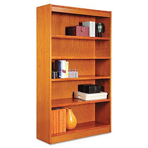 Alera Square Corner Bookcase, Finished Back, Wood Veneer, 5-Shelf, 36 W by 11-3/4 D by 60 H, Medium Cherry