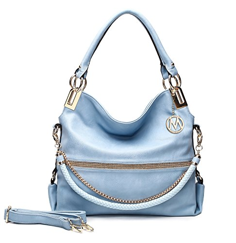 Designer Purse ~ Designer Handbag for Women ~ Multi Pocket Purse ~ Perfect Women Purse ~ Beautiful Designer Handbag ~ GLAM-GAL Fashion Designer Handbag Purse By MKF Collection (Light Blue)